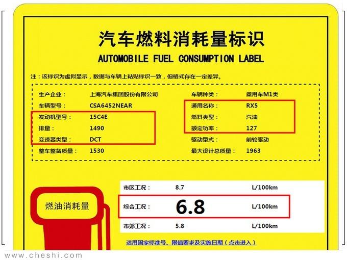 小幅调整 全新荣威RX5详细动力信息曝光
