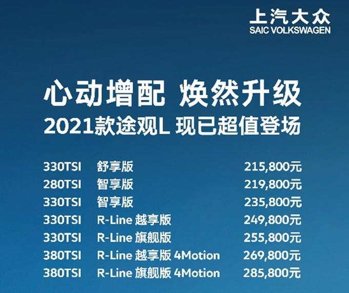 大众新款途观L正式上市 共发售7款配置