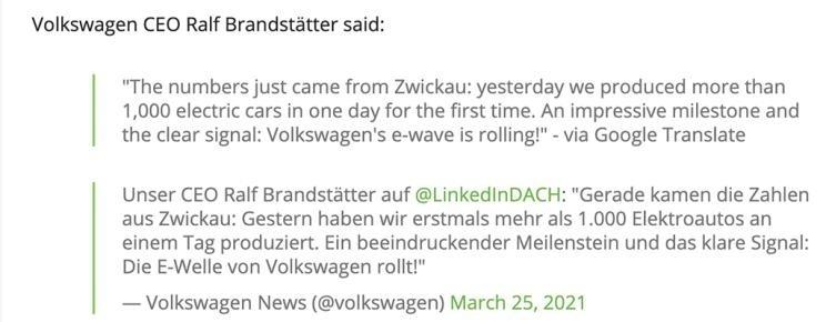 大众德国工厂纯电动车日产能超1000辆
