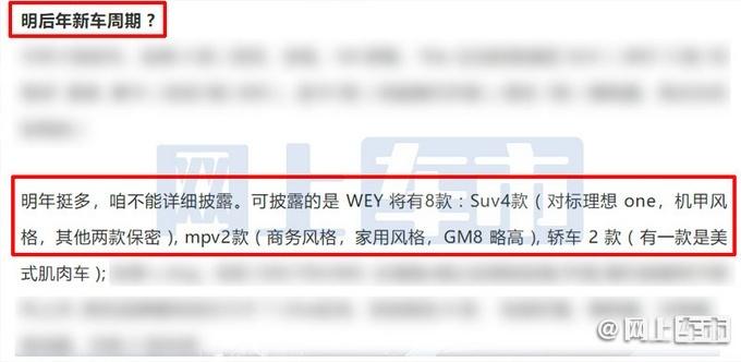 至2023年 WEY品牌���推出15款全新�型